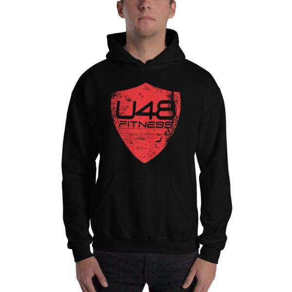 Ultimate 48 Fitness - Black Hoodie - Red Shield